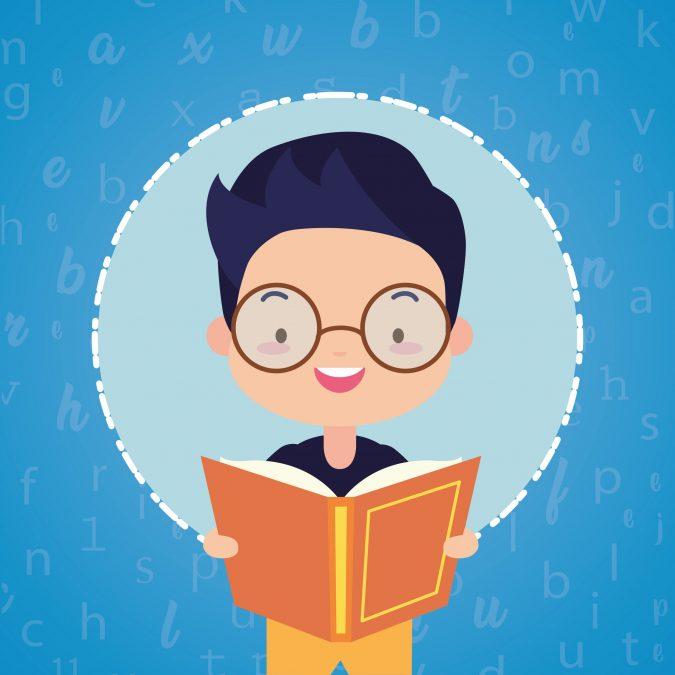 Junge, der begeistert am lesen ist