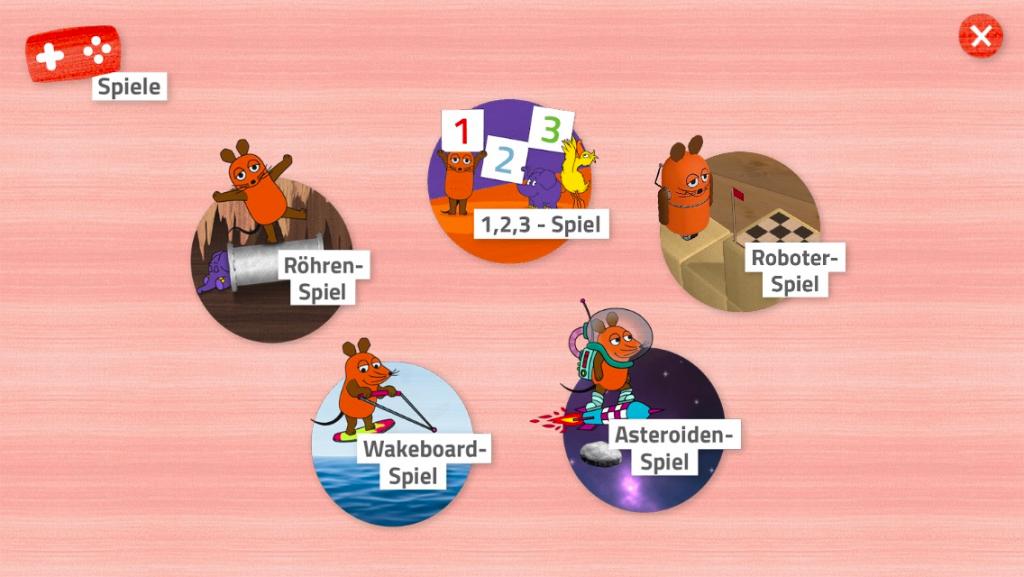 Die Maus App: Spielauswahl